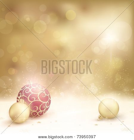 Christmas card in desaturated golden shades with light effects. Christmas baubles, blurry light dots and baubles make it a gorgeous Christmas background with a festive and dreamy feeling.