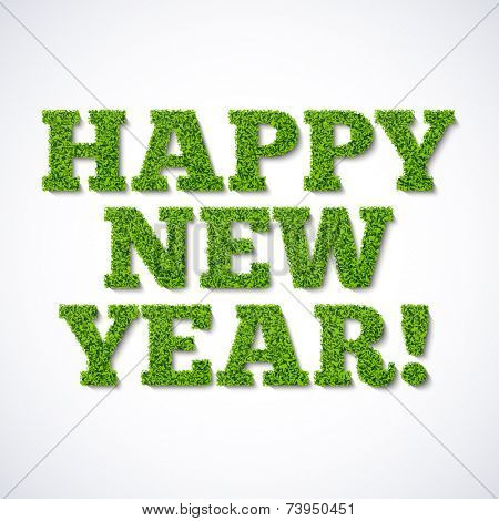 Happy new year card - green grass. Vector.