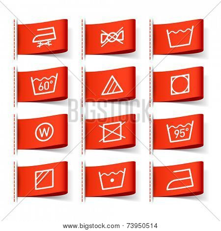Washing symbols on clothing labels. Vector.