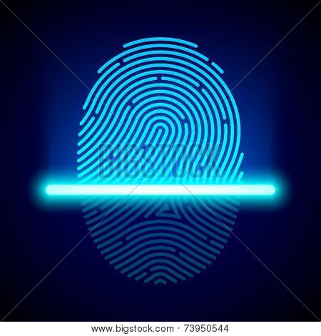Fingerprint scanner, identification system. Vector.
