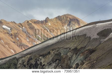 Tourists along the ridge in Landmannalaugar lava landscape
