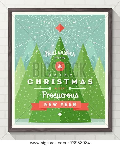 Wooden frame with flat and type design Christmas poster - vector illustration