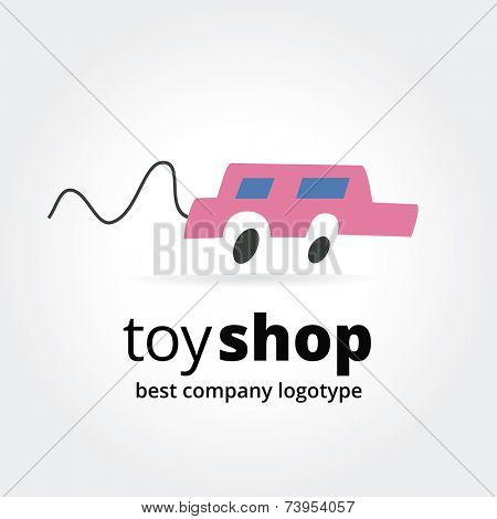 Abstract toy car logo icon concept isolated on white background for business design. Key ideas is children, toys, cars, motion, shops, gifts. Concept for corporate identity and branding. Stock vector.