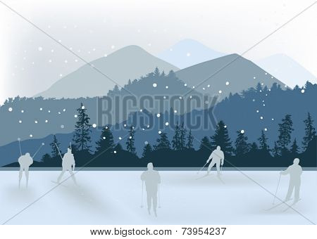 illustration with skiers near mountains