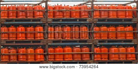 Gas Cylinders Assorted On A Truck