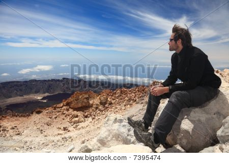 Hiker Enjoying View