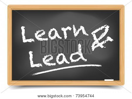 detailed illustration of a blackboard with Learn and Lead text, eps10 vector, gradient mesh included
