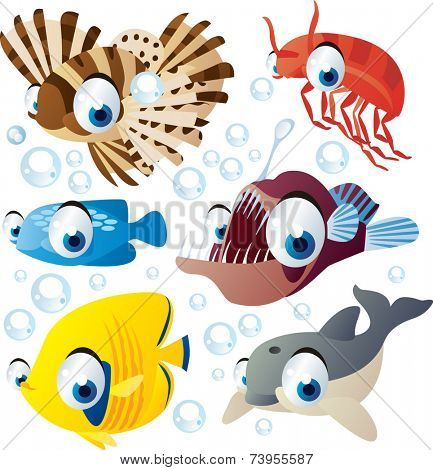 vector cartoon sea animal set: zebra fish, shrimp, angler, dolphin, fish