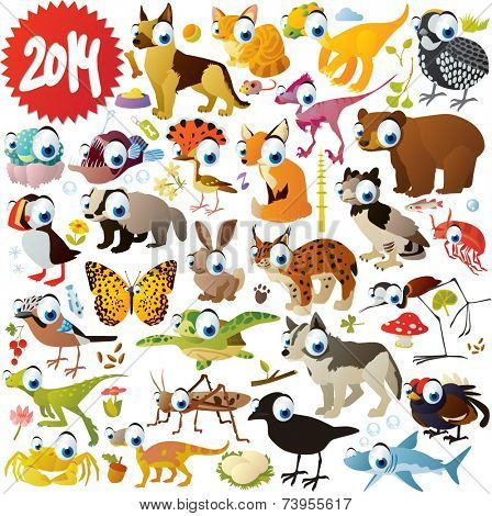 extra big vector cartoon animals set