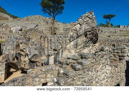 condor temple Machu Picchu, Incas ruins in the peruvian Andes at Cuzco Peru