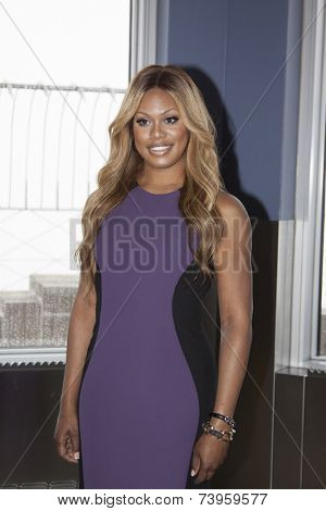 NEW YORK - OCT 16, 2014: Laverne Cox, actress in 'Orange Is The New Black' and producer of 'The T Word' on the observation deck of the Empire State Building after the lighting ceremony.