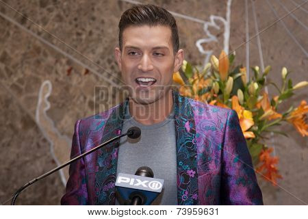 NEW YORK - OCT 16, 2014: Omar Sharif Jr, National Spokesperson from GLADD at the ceremony to light the Empire State Building purple honoring GLADDs Spirit Day and National Bullying Prevention Month.