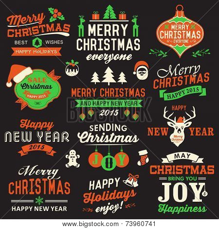 Vector collection of Christmas symbols, labels, icons, elements and decoration