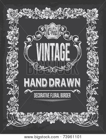 Vintage hand drawn floral chalkboard decorative border