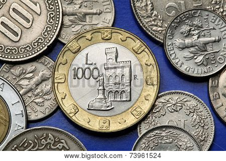Coins of San Marino. Palazzo Pubblico and the Statue of Liberty in San Marino depicted in the old Sammarinese 1000 lira coin.