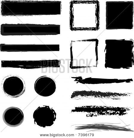 Isolated grunge elements, brushes,