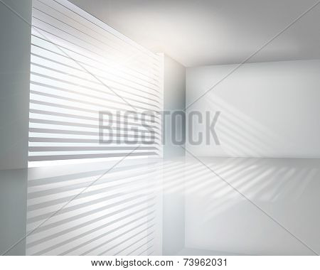 Sunlit window with blinds. Vector illustration.