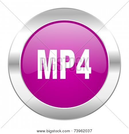 mp4 violet circle chrome web icon isolated