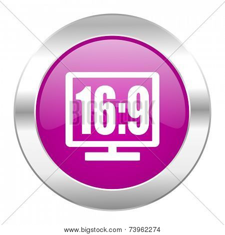 16 9 display violet circle chrome web icon isolated