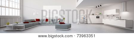 Modernes Interior Loft Apartment Panorama 3D Illustration