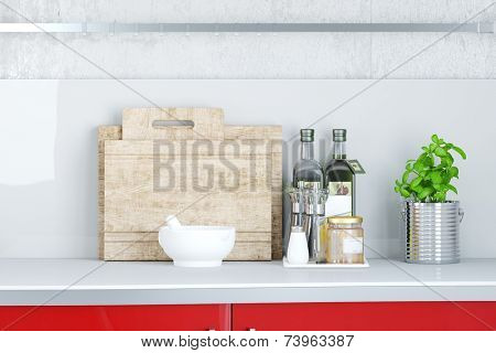 3D Illustration Cutting board on couter top in kitchen with herbs and oil