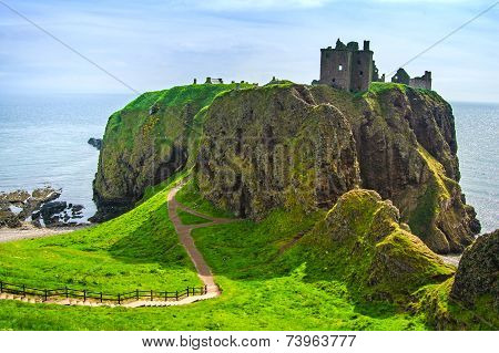 Dunnottar Scottish Medieval Fortress Or Castle. Highlands Of Scotland