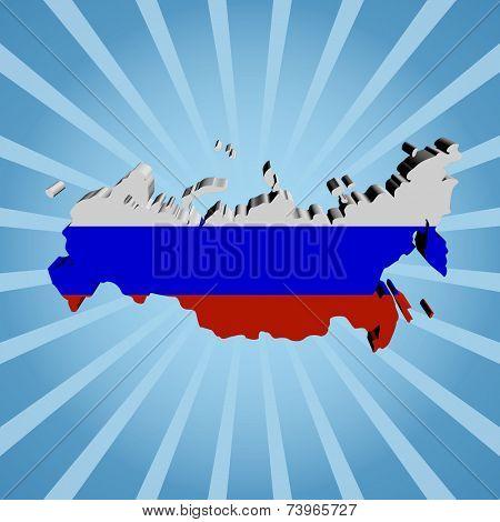 Russian Federation map flag on blue sunburst illustration