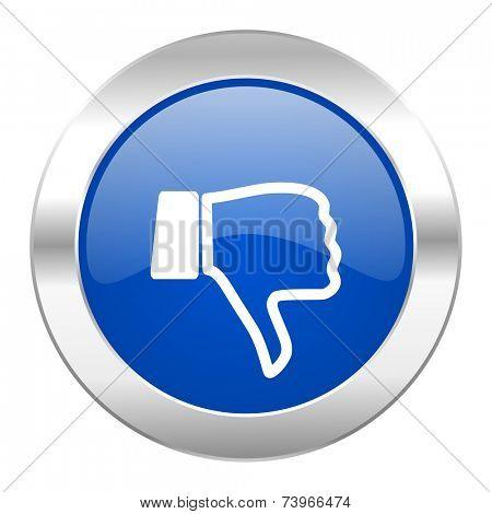 dislike blue circle chrome web icon isolated