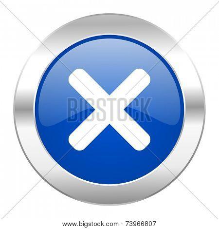 cancel blue circle chrome web icon isolated