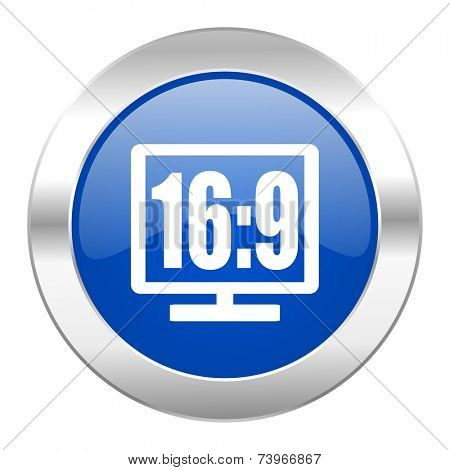 16 9 display blue circle chrome web icon isolated