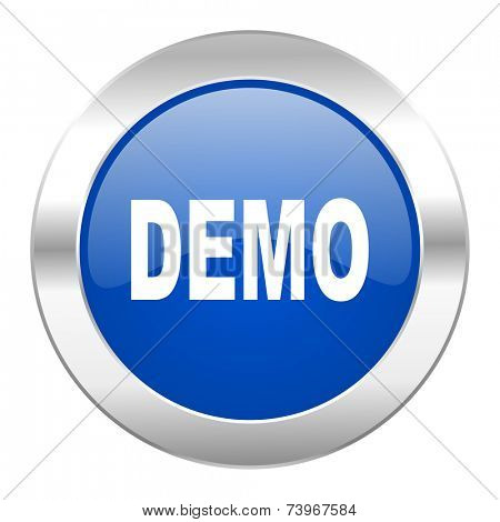 demo blue circle chrome web icon isolated