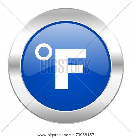 fahrenheit blue circle chrome web icon isolated