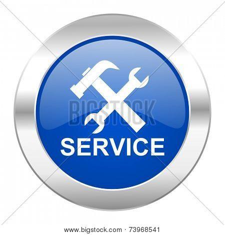 service blue circle chrome web icon isolated
