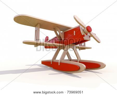 Toy wooden plane on a white background