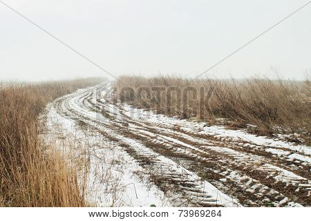 Rural dirt road in winter