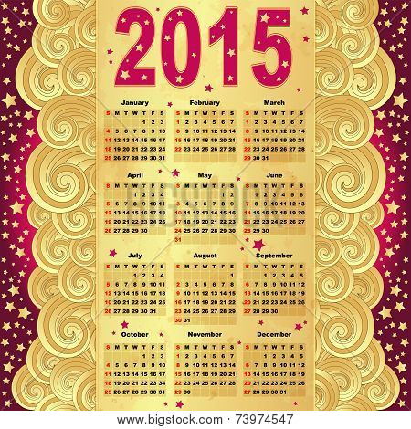 Calendar in the old style For 2015