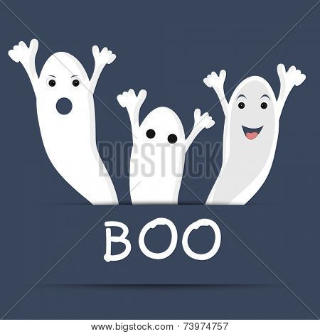Traditional ghost with text of Boo for Halloween party celebration on blue background for Halloween celebration concept.
