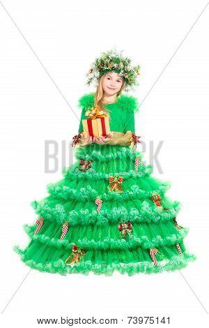 Little Girl In Green Christmas Dress