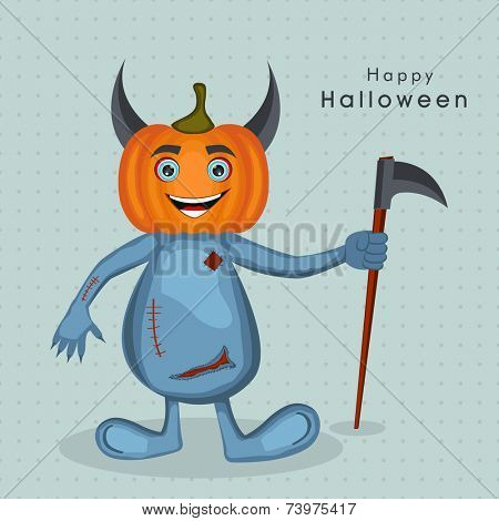 Cartoon character of devil in pumpkin face holding an axe for Halloween party celebration on dotted sky blue background.