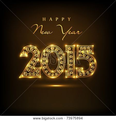 Beautiful golden text 2015 on  brown background for Happy New Year 2015 celebrations.