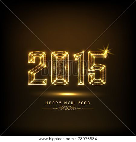 Stylish golden text 2015 on brown background, Greeting card design for Happy New Year celebrations.