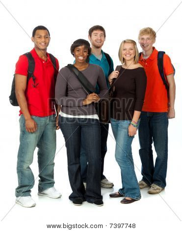 Multi-racial College Students On White