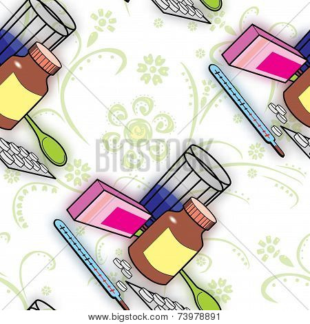Seamless Pattern With Medications For Colds And Flu