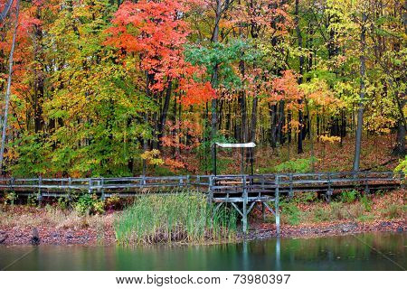 Board walk and relaxing shelter with colorful autumn trees