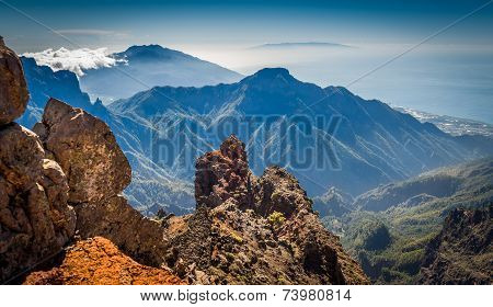 Volcanic mountains landscape.