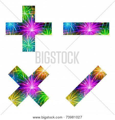 Set of mathematical signs, firework