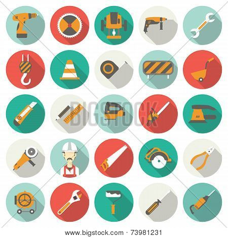 Construction flat icons set. Vector illustration