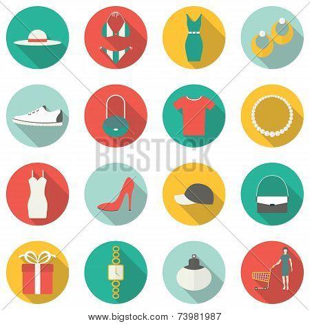 Shopping flat icons. Vector illustration