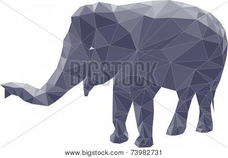 Polygon illustration of elephant, vector triangle design