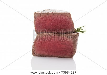 Delicious Steak on white background.